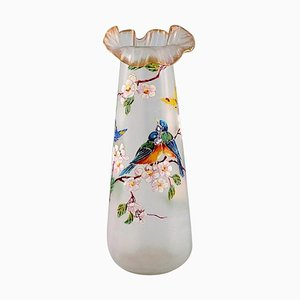 Large Vase with Hand-Painted Enamel Decoration in Art Glass from Legras