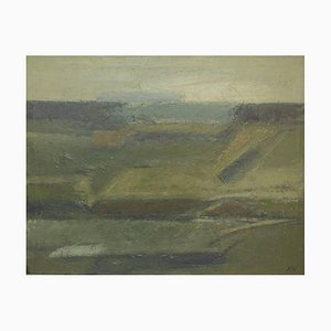 Modernist Landscape Oil on Canvas by Knud Nedergaard, 1970s