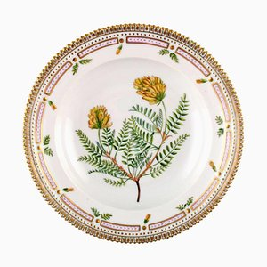 Flora Danica Deep Plate of Porcelain Decorated with Flowers from Royal Copenhagen, 20th Century