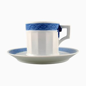 Blue Fan Coffee Cup with Saucer from Royal Copenhagen, 20th Century, Set of 34