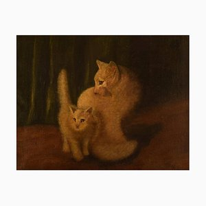 2 White Cats Oil on Canvas by Arthur Heyer, Early 20th Century