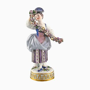 Porcelain Figurine Woman in Purple Dress with Flowers from Meissen, 1900s