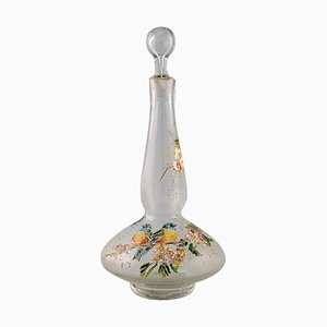French Carafe with Hand-Painted Enamel Decoration in Art Glass from Legras