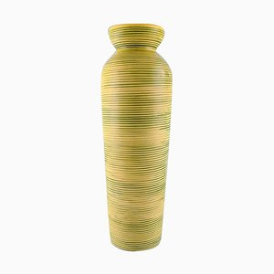 Bo Fajans Yellow-Glazed Floor Vase in Modern Design from Gefle, 1950s