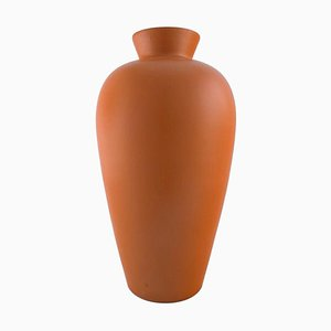 Grand Vase Orange en Céramique Vernis de Upsala-Ekeby, 1960s