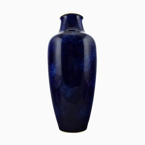 Large Vase in Porcelain with Blue Glaze and Gold Rim from Sevres, 20th Century