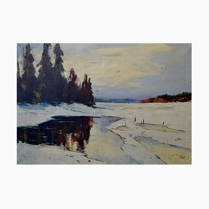 Winter Landscape with Forest Oil on Canvas by Axel Lind, 20th Century