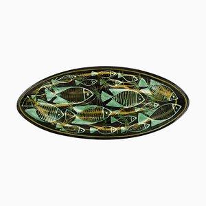 Oblong Großer Handgemalter Teller mit Keramik von Astrid Tjalk für Kähler, 1950er