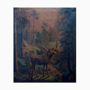 Moose in Forest by Carl Henrik Bogh, 1871