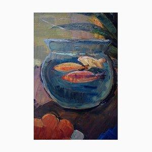 Stillleben mit einer Schale Goldfisch von Carl Fischer, 1940er