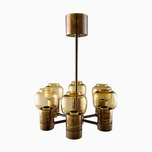 6-Armed Electric Chandelier in Brass by Hans-Agne Jakobsson, 1970s