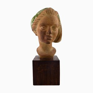 Bust of Young Woman in Ceramic by Johannes Hedegaard, 20th Century