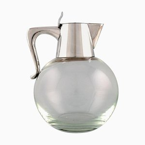Modernist Jug in Art Glass and Sterling by Ole Hagen for Michelsen, 1968