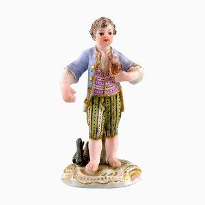 Figurina Boy with Falcon in miniatura di Johann Joachim Kändler di Meissen