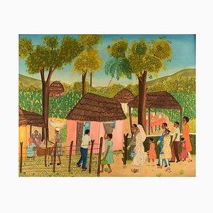Naivist School Oil on Board Wedding Scene from Haiti by E. Jean, 1970s