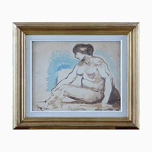 Watercolor Painting of Seated Model by Lagar Celso, 20th Century