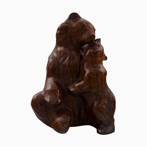 Brown Bear with Cub Figure in Stoneware by Arne Bang