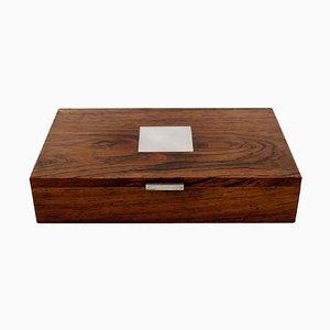 Sarg oder Schachtel aus Palisander mit Intarsie von Hans Hansen, Mitte des 20. Jahrhunderts
