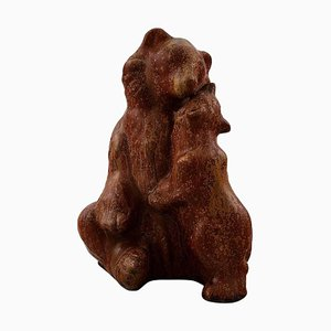 Stoneware Figure in the Shape of a Brown Bear with Cub by Arne Bang