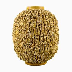Chamotte Vase in Mustard Yellow Glaze by Gunnar Nylund for Rörstrand, 1950s