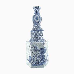 Romantic Garden Scenery Vase in Hand Painted Ceramics by Bjørn Wiinblad, 1963