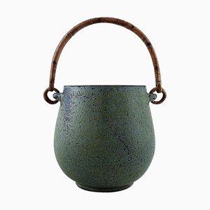Glaze in Shades of Blue Ceramic Ice Bucket by Arne Bang