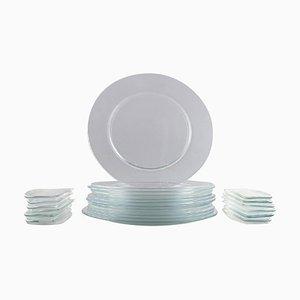 Operakällaren Cover Plates & Bread Dishes from Reijmyre Glassworks, 1980s, Set of 24
