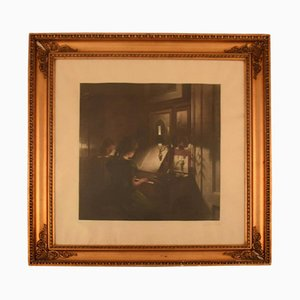 Interior with Two Girls at the Piano Mezzotint in Colours by Peter Ilsted, Frühes 20. Jahrhundert