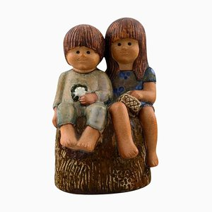Swedish Siblings Glazed Pottery Figure by Lisa Larson for Gustavsberg, 20th Century