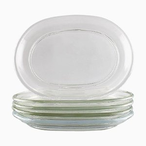 Swedish Lobster Plates in Clear Glass by Josef Frank, Mid-20th Century