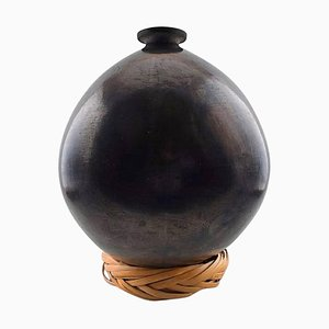 Large Patinated Metal Floor Vase with Base in Plain Weave