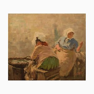 Fishmongers Oil on Canvas by S. C. Bjulf, 1930s