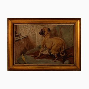 Dog and Bird in Interior Painting, Early 20th Century