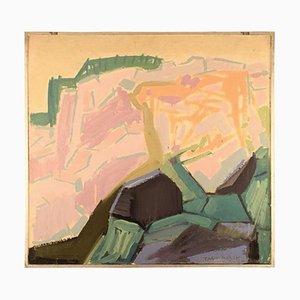 Modernist Landscape Oil on Plate by Tage Björk, 1960s