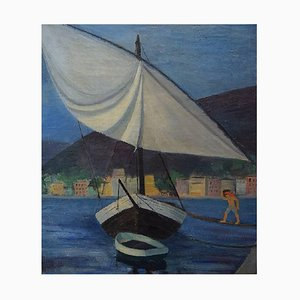 Sailboat at the Quay in Marseille Oil on Canvas, 1930s