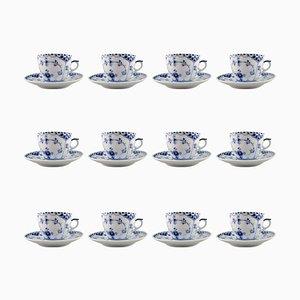 Blaue Gerippte Halbmond Kaffeetassen und Untertassen von Royal Copenhagen, 1940er, 12er Set