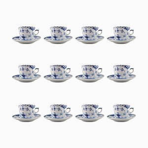 Blue Fluted Half Lace Coffee Cups and Saucers from Royal Copenhagen, 1940s, Set of 12