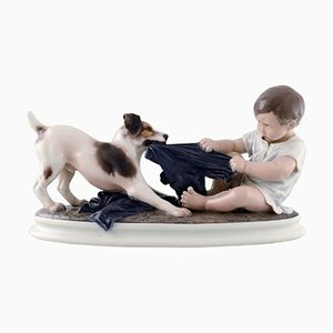 Large Boy and Dog Porcelain Figurine Model Number 1072 by Dahl Jensen, 1930s