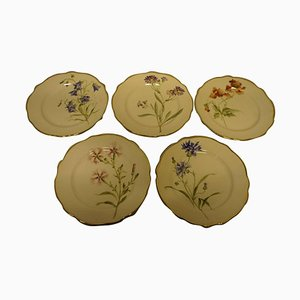 Art Nouveau Hand-Painted Different Flower Plates from Rörstrand, Set of 11