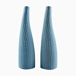 Reptile Vases in Turquoise by Stig Lindberg for Gustavsberg, 1960s, Set of 2