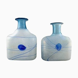Large Art Glass Vases by Bertel Vallien for Kosta Boda, 20th Century, Set of 2