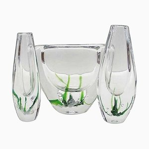 Swedish Modern Glass Vases by Vicke Lindstrand for Kosta Boda, 20th Century, Set of 3
