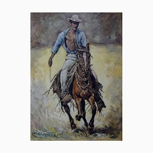 Cowboy Oil Painting on Canvas, 20th Century