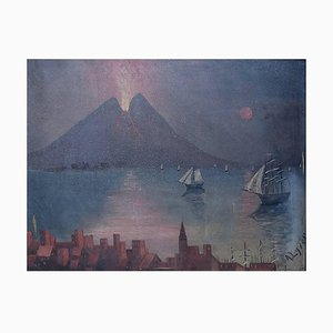 Naivistic Gulf of Naples Mount Vesuvius Erupted Oil Painting, Early 20th Century