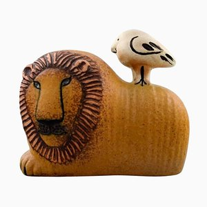 Pottery Lion and Bird Figurine by Lisa Larson for Gustavsberg