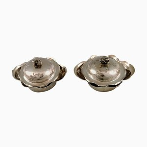Chinese Lidded Bowls of Silver, Early 20th Century, Set of 2