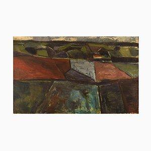 Modernist Landscape with Fields Oil on Canvas by Jørgen Jakobsen, 1960s