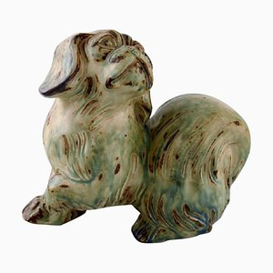 Light Sung Glaze Pekingese Stoneware Figure by Knud Kyhn for Royal Copenhagen