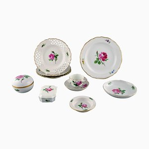 Pink Rose Porcelain Service from Meissen, Mid-20th Century, Set of 9