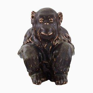 Sitz Affe aus Steingut von Jean Rene Gauguin für Bing & Grondahl, 20. Jahrhundert